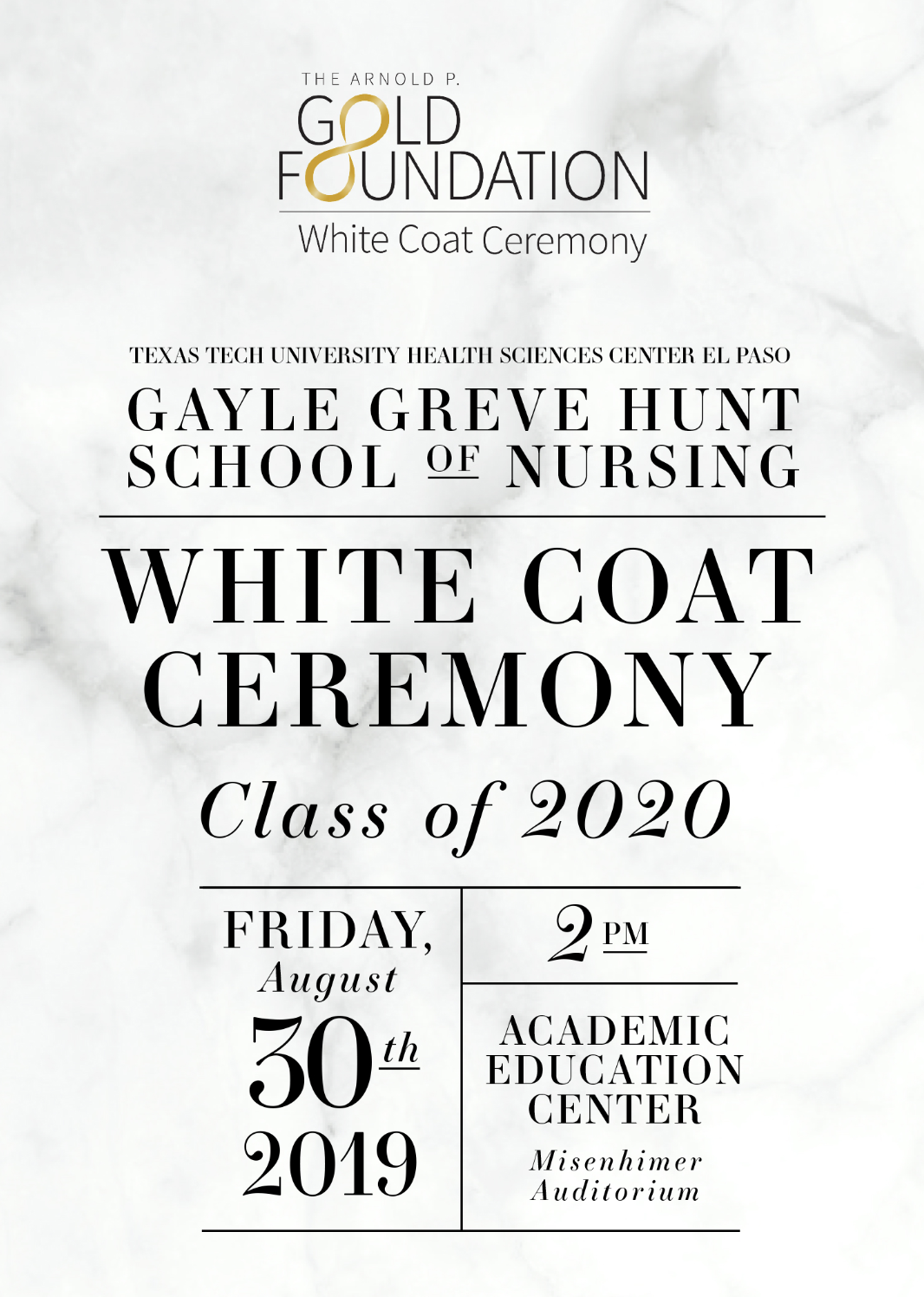 Gayle Greve Hunt School Of Nursing White Coat Ceremony Aug 30